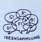Sprechblasen, die sich überlappen, als Symbol für eine Ideensammlung. Zeichnung und Foto: Janne Klöpper